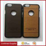 New Arrival Trending Product Wood Grain PU Hard Armor Bumper Hybrid Outer Shield Case for iPhone 6s Plus Case