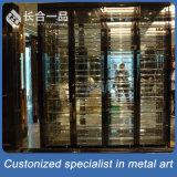 Customized Stainless Steel Back Titanium Wine Display Cabinet/ Wine Cellar