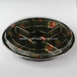 5 Compartment Round Floral Printed Top Grade Disposable Plastic Sushi Container