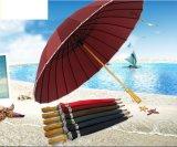 24 Panels Promotional Custom Printed Straight Wooden Handle Umbrella