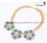 Big Color Stone & Chain with Gold Plated Fashion Necklace (XJW12028)