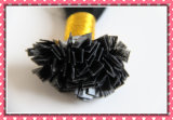 "100% Human Hair Remy Hair Extension Pre-Bonded Hair Extension Flat Tip 24"" Black Color (HRFT24-1)"