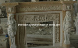 Marble Fireplace Mantel with Statue
