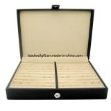 Cufflinks Jewelry Box Leather Display Case Storage Organizer Black
