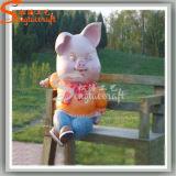 Fiber Glass Park Decoration Artificial Crafts Piggy Statues