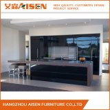 High Gloss Black Color Kitchen Cabinet with Island