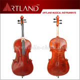 Solid Flamed Cello with Sprit Varnish Brown Color