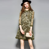 Silk Dress Long Sleeve Printed Clothes Slim Casual Women Dress