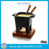 Four Feet Square Fondue Pot with Wooden Stand