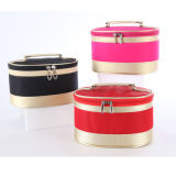 High Level Satin Cosmetic Bag with Handle in Round Shape