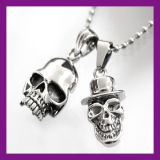 Charm Men′s Infinity Tibet Silver Stainless Steel Skull Pendant Chain Necklace