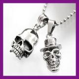 Charm Men′s Infinity Tibet Silver Stainless Steel Skull Pendant Chain Necklace