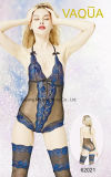 Sexy Ladies Royalblue Lace Teddy Bodysuits with Stocking Set