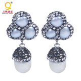 Natural White Pearl Gem Dangle Earrings with Crystal Zircon Paved Pearl Druzy Earrings