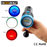 Three Color LED Torches for Diving Vidoe Max 2600lm and Waterproof 120m Hoozhu V30