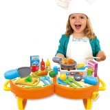 14359020-Bowa 31 PCS Lovely Kitchen Cooking Role Play Toys Pretend Playset with Sound Light for Children