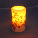 Battery Operated Fire Safe LED Flameless Printed Candle for Chtistmas