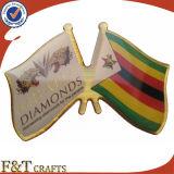 Popular Custom Shape Brass Double Flag Pin (FTFP1626A)