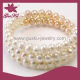 2015 Plb-008 Hot Sale Wedding Natural White Freshwater Pearl Bracelet