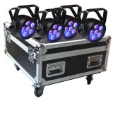 Mini LED PAR Light 6in1 RGBWA+UV Hex with Powercon in Roadcase / Flight Case Stage Light