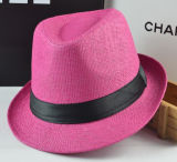 Fashion Basic Colourful Paper Straw Fedora Tribly Hat