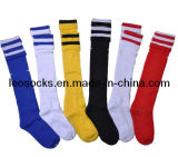 Custom Logo Cotton Football Striped Socks in Hot Sale