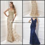 Applique Evening Ladies Fashion Dress Lace Formal Gowns Z1025