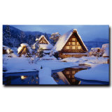 Wholesale 2016 Latest LED Light Oil Paintings on Canvas Christmas Snow-Covered Landscape