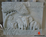 Granite Stone Wall Relief Sculpture Elephant Animal Carving