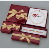 Red Leatherette Cardboard Paper Box Set with Bowknot