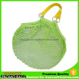 Handmade Net French Cotton Market Bag with PU Handle