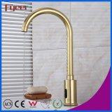 Goose Neck Golden Sensor Water Tap Automatic Basin Faucet