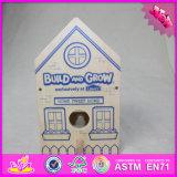 2016 Wholesale Baby Toy Wooden Bird House, DIY Kids Toy Wooden Bird House, Popular Children Toy Wooden Bird House W03b049
