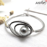 Hot Marketing Crystal Eyes Shape Diamond Bracelet in Rhodium Plated with Pearl
