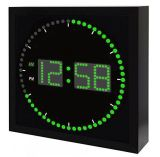 Square LED Digital Wall Clock. Metal Frame with Glass Material