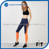 Women Sports Leggings Orange Color Block Slim Pants