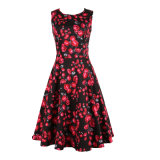 Plus Size Flower Printed Satin Made A Line Party Dress