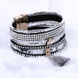Fashion Crystal Magnetic Clasp Woman Tassel Bangle Leather Bracelet Jewelry