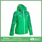 Emerald Green Colors Women′s Ski Jacket