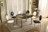 Morden Black Extendable Glass Metal Functional Dining Table