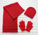 Fashion Promotional Acrylic Knitted Hat Glove Scarf Warm Set (YKY4624-1)
