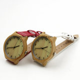 Cheap Ladies Bamboo Wood Case Leather Watch with Japan Movement