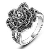 Flower Black Rhinestone Crystal Women′s Alloy Artificial Finger Ring
