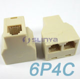 6p6c 6p4c Rj11 Telephone 1 Female to 2 Females Splitter Connector