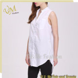 Sleeveless Shirts design White Cotton Leisure Shirts for Women