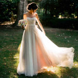 Vintage Sheer Neck Tulle Chiffon A-Line Outdoor Wedding Dress