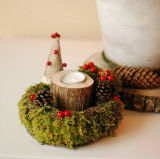 Christmas Candle Holder Table Centerpiece Advent Moss Wreath,