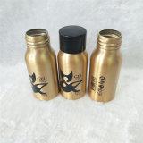 30ml Gold Aluminium Water Bottle with Black Plastic Cap