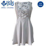Light Gray Exquisite Elegant Fashion Ladies Dress with Plant Beading