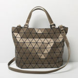 Matt Brown Rhombic Geometry Large Size Shoulder Bag (A0107-4)
